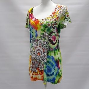 New Directions Tie Dye Top Size Large